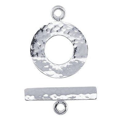 Sterling Silver Hammered Toggle Clasp