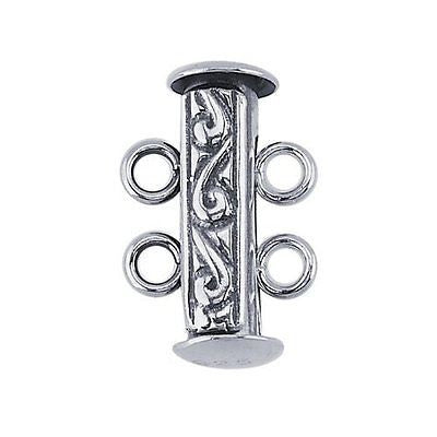 Sterling Silver Two-Strand Engraved Tube Slide Clasp