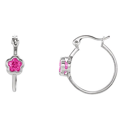 Sterling Silver BFlower Fuchsia CZ Dangle Earrings