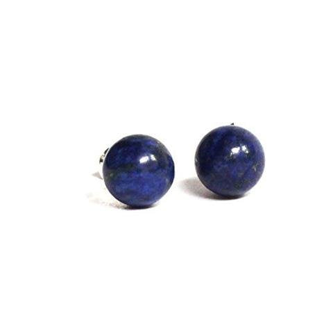 Titanium Hypoallergenic Stud Earrings with Natural Stones 6 mm,   Lapis Lazuli