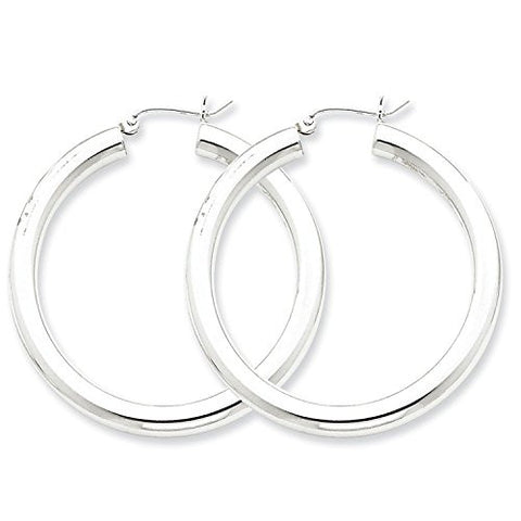 Sterling Silver Rhodium-Plated 4.00mm Round 1.5IN Hoop Earrings (1.6IN x 1.5IN )