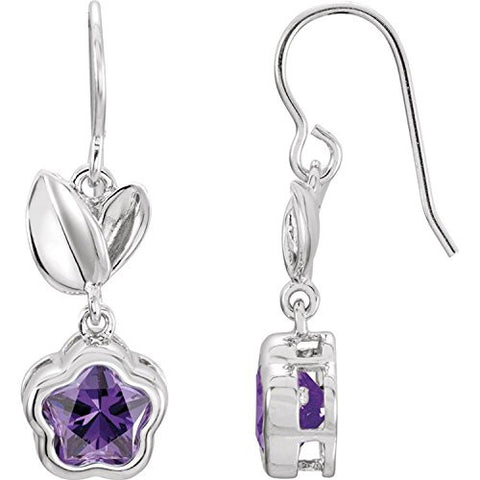 "Sterling Silver PURPLE Cubic Zirconia BFlowerâ""¢ Earrings with Box"