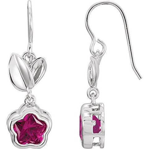 "Sterling Silver FUCHSIA Cubic Zirconia BFlowerâ""¢ Earrings with Box"