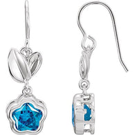 "Sterling Silver BLUE Cubic Zirconia BFlowerâ""¢ Earrings with Box"