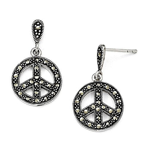 Sterling Silver Marcasite Peace Sign Dangle Post Earrings (1IN Long x 0.6IN Wide)