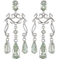 Sterling Silver Green Amethyst Chandelier Earrings