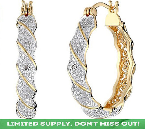 18k  Yellow Gold-Plated Hoop Earrings