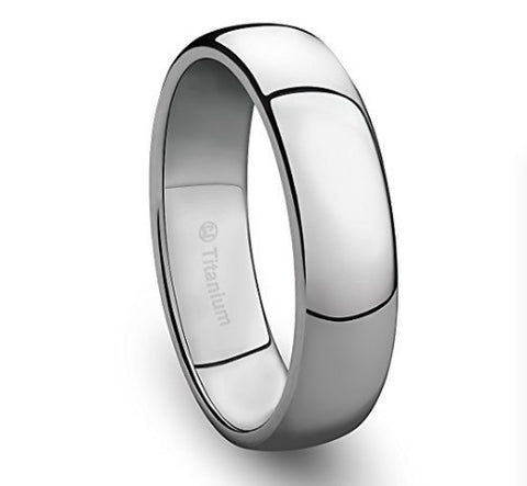 6MM Mens Titanium Ring Classic