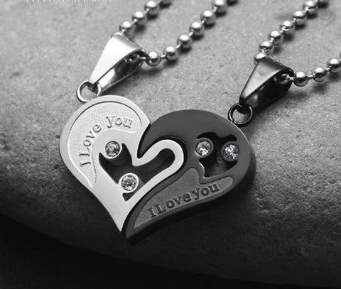 I Love You Couples Heart Necklace