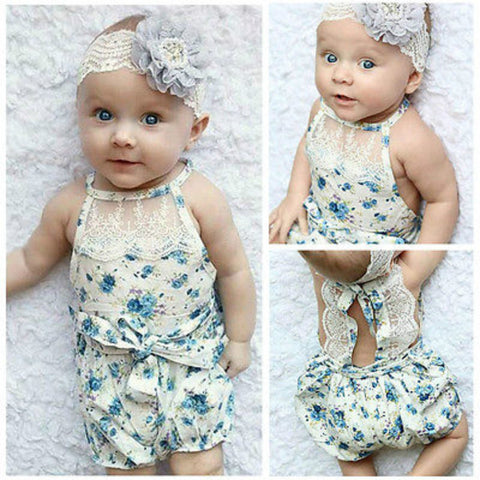 Blue Floral Sleeveless Lace Girl Romper
