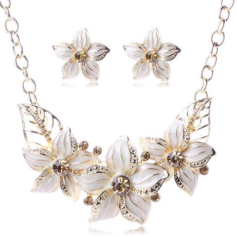 Crystal Enamel Flower Jewelry Sets