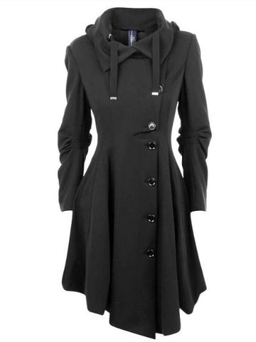 Elegant Single-Breasted Black Gothic Coat