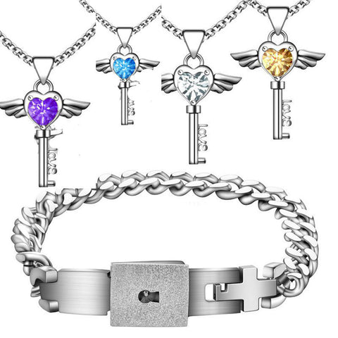 Key To Heart Necklace & Bracelet