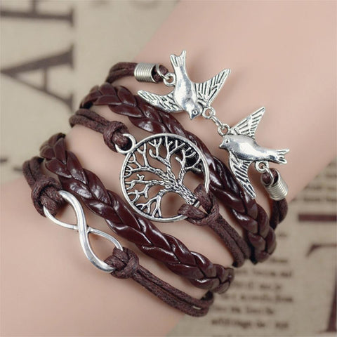 Leather Love Owl Leaf Charm Bracelet