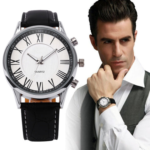 Quartz Watch Men's Leather Military Watches