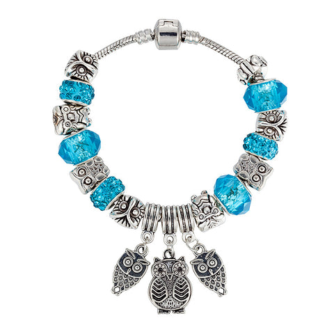Owl Bracelet Crystal Beads Women