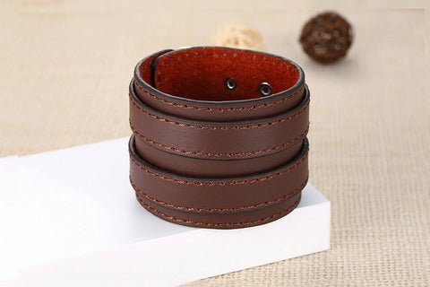 Double Belt Leather Bracelet Men