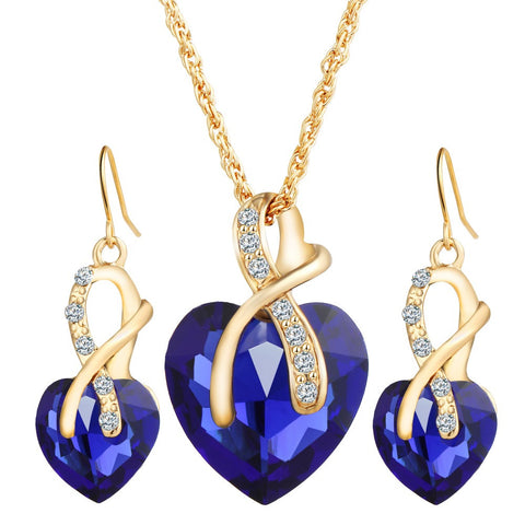 Gold Love Crystal Heart Jewelry Sets