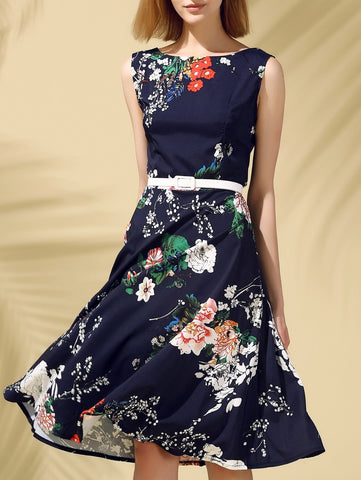 Slimming Floral Women's Dress