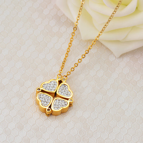 Tow Clover Necklace Changable Crystal