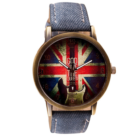 Unisex Leather Band Analog Quartz