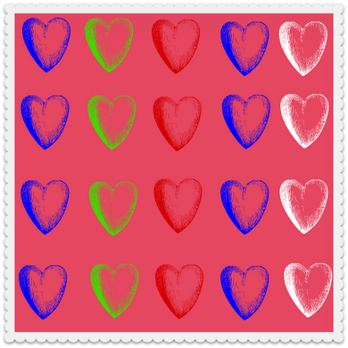 Heart 5 on Hot Pink (set of 10)