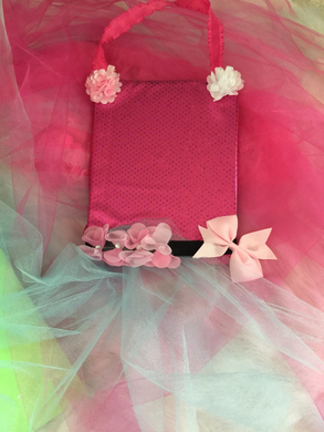 Pink Sparkle Ballerina X Tutu Hair Clip Holder