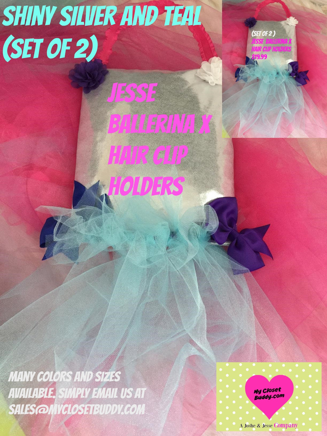 Set of 2 Silver and Teal Ballerina X Tutu Hair Clip Holders