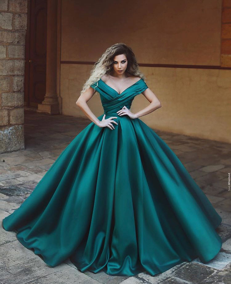 Emerald Green Princess Ball Gown Prom Dresses for Special Occasion