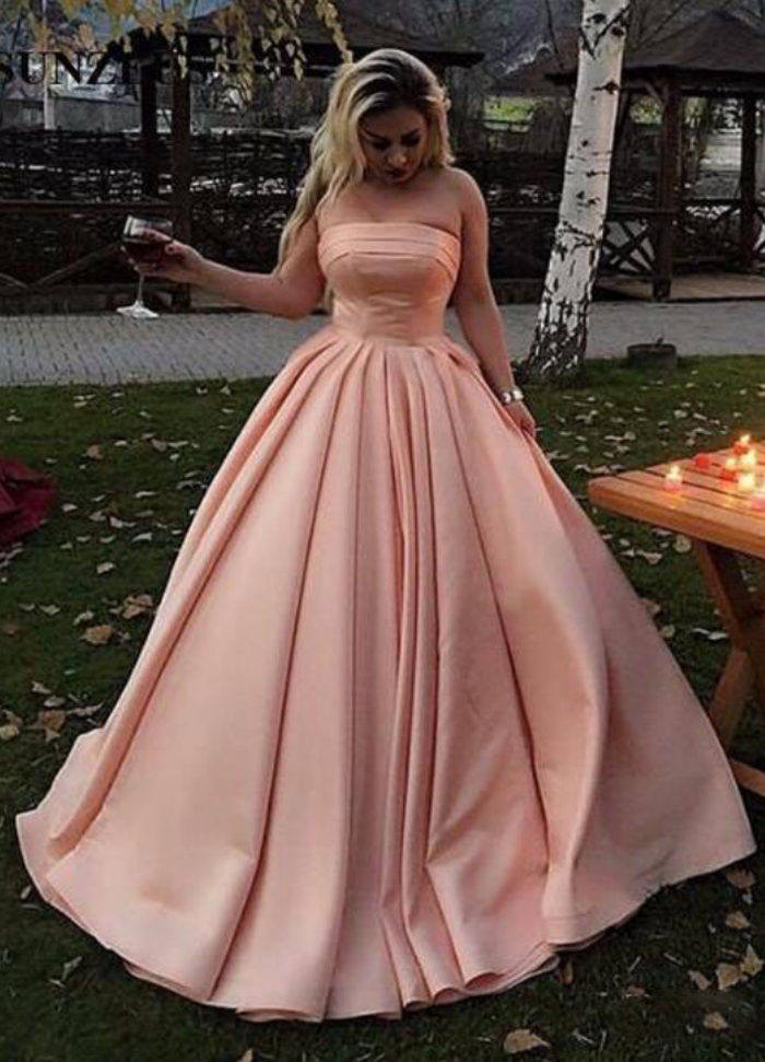 Strapless Ball Gown Satin Prom Dresses Long