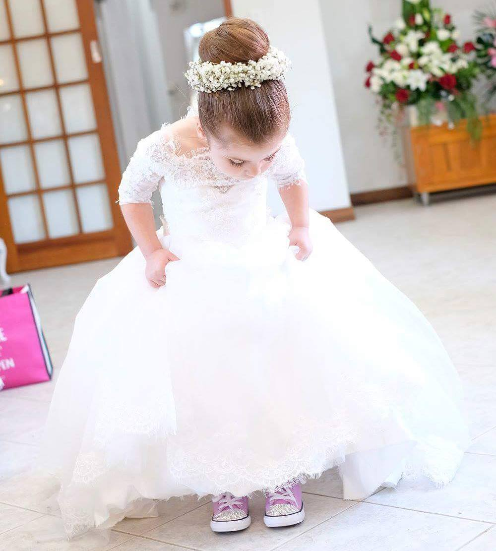 White Tulle Off the Shoulder Princess Flower Girl Dresses with Half Lace Sleeves