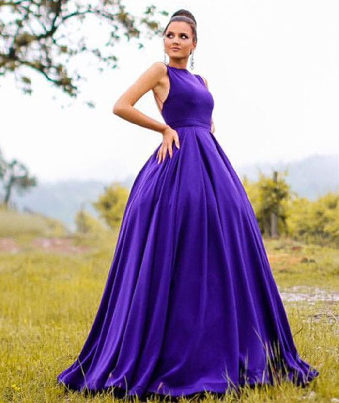 Long Satin Open Back Ball Gowns Evening Dresses Formal 2018