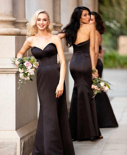 Unique Sweetheart Mermaid Satin Bridesmaid Dresses Long
