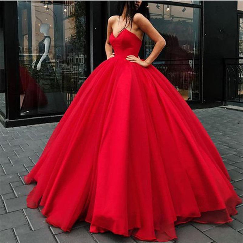 Strapless Bodice Corset Red Tulle Ball Gowns Prom Dresses Sleeveless