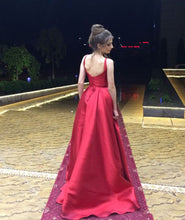 Burgundy Satin Long Backless Prom Party Dresses