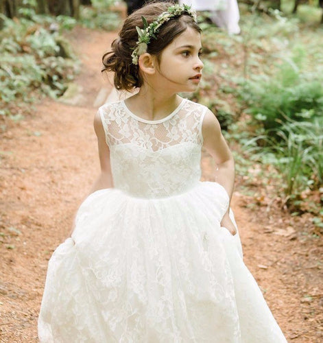 Backless Long Lace Flower Girl Dresses Kids Party Gowns for Weddings