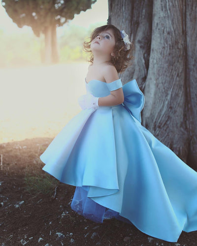 Off Shoulder High Low Satin Flower Girls Dress Kids Pageant Gowns with a Bow