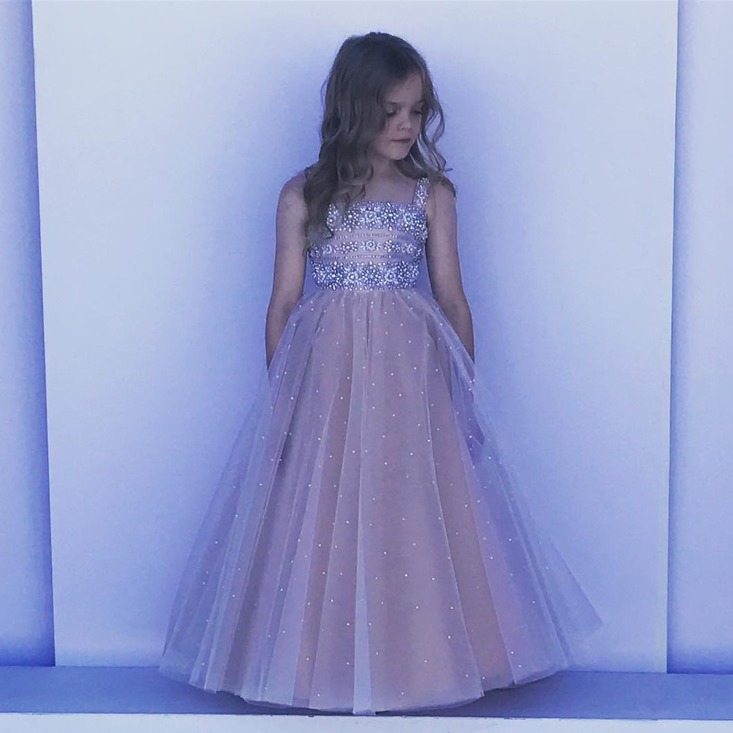 Crystal Beaded Tulle Long Flower Girl Dresses Square Neck Kids Pageant Gowns