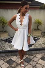Short White Homecoming Dress with Open Back