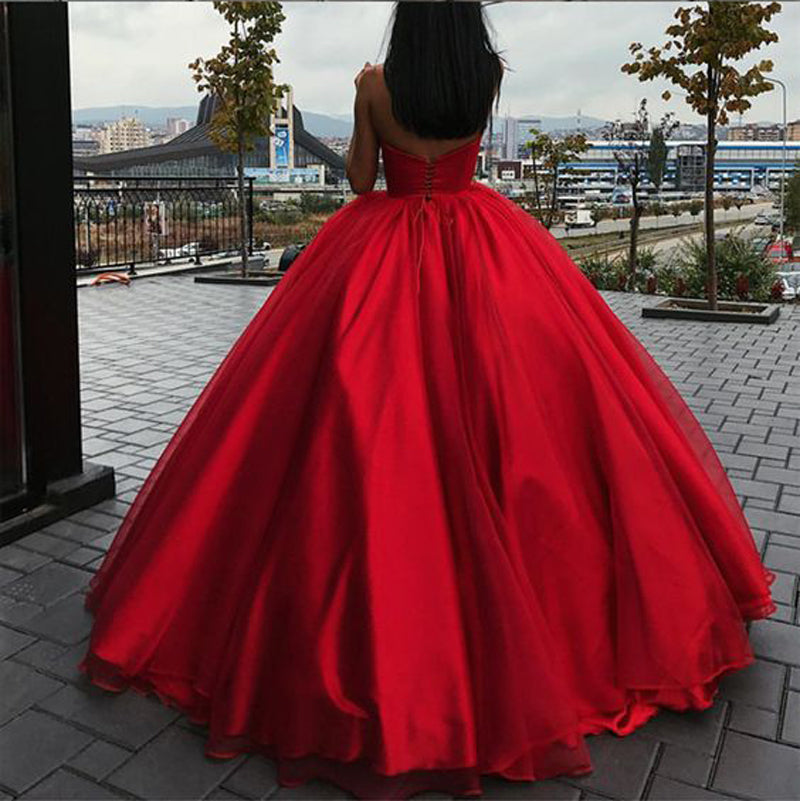 Strapless Bodice Corset Red Tulle Ball Gowns Prom Dresses Sleeveless ...