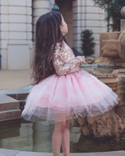 Princess Short Ball Gown Flower Girls Dresses with Long Sleeves