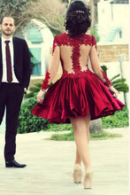 Sheer Long Sleeves Short Prom Homecoming Dresses with Appliqués