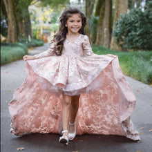 High Low Lace Long Sleeves Flower Girl Dresses