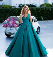 Sexy Deep V Neck Long Satin Ball Gown Prom Dresses