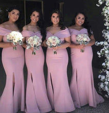 New Arrival Off-Shoulder Bridesmaid Gowns with Slit