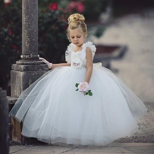 Princess Ball Gown Flower girl Dresses with Ruffle Straps