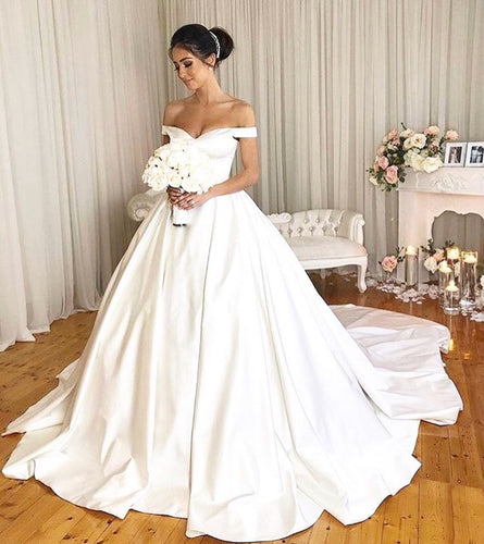 Causal Ball Gown Off Shoulder Bridal Weddding Dresses with Pockets