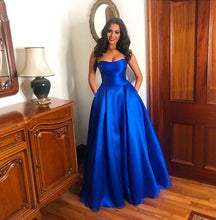 Dark Royal Blue Strapless Ball Gown Prom Dresses Long with Pockets
