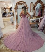 Beaded Waist Sexy Evening Dresses with Overlay Tulle Skirt