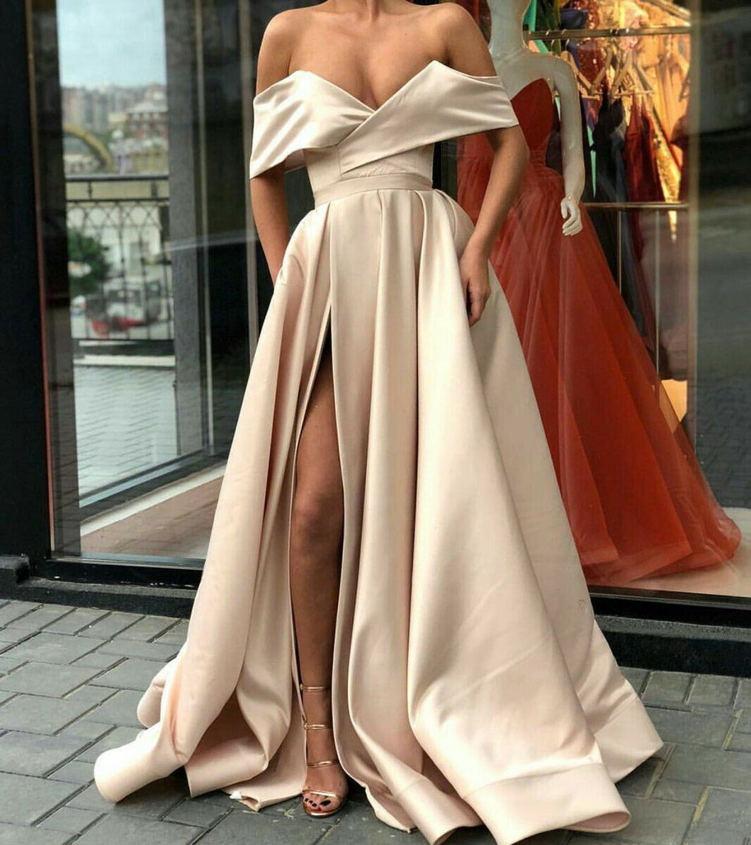 Sexy Off Shoulder Long Satin Evening Prom Dress with Split